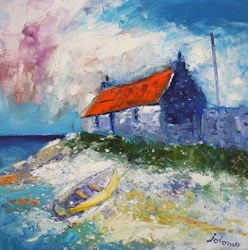 Croft and Boat Loch Gruinart Isle of Islay by John Lowrie Morrison - Original Painting on Stretched Canvas sized 24x24 inches. Available from Whitewall Galleries